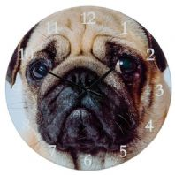 "BATTERY OPERATED PUG DOG FACE DESIGN WALL CLOCK 7"" WIDE"